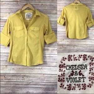 Chelsea & Violet Yellow Button Down Shirt